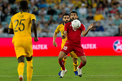 November 21, 2018 - Sydney, NSW, U.S. - SYDNEY, AUSTRALIA - NOVEMBER 20: Lebanon player Mohamad Haidar (10) controls the ball under pressure from Australian defender Aziz Bahich (16) at the international soccer match between Australia and Lebanon on November 20, 2018, at ANZ Stadium in NSW, Australia. (Photo by Speed Media/Icon Sportswire) (Credit Image: © Speed Media/Icon SMI via ZUMA Press)