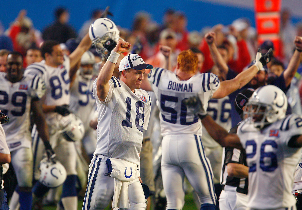 MIAMI - Peyton Manning of the Indianapolis Colts celebrates defeating the Chicago Bears in Super Bowl XLI in Miami, Florida on February 4, 2007