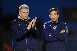 Bristol Rovers Manager John Ward (ENG) and assistant manager Darrell Clarke applaud  during the match - Photo mandatory by-line: Rogan Thomson/JMP - Tel: Mobile: 07966 386802 - 21/12/2013 - SPORT - FOOTBALL - Memorial Stadium, Bristol - Bristol Rovers v Portsmouth - Sky Bet League Two.