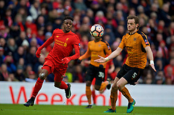 LIVERPOOL, ENGLAND - Saturday, January 28, 2017: Liverpool's Divock Origi in action against Wolverhampton Wanderers' Richard Stearman<br /> v during the FA Cup 4th Round match at Anfield. (Pic by David Rawcliffe/Propaganda)