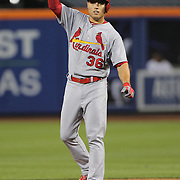 NEW YORK, NEW YORK - July 27: Aledmys Diaz #36 of the St. Louis Cardinals gestures to the dugout after hitting a double during the St. Louis Cardinals Vs New York Mets regular season MLB game at Citi Field on July 27, 2016 in New York City. (Photo by Tim Clayton/Corbis via Getty Images)