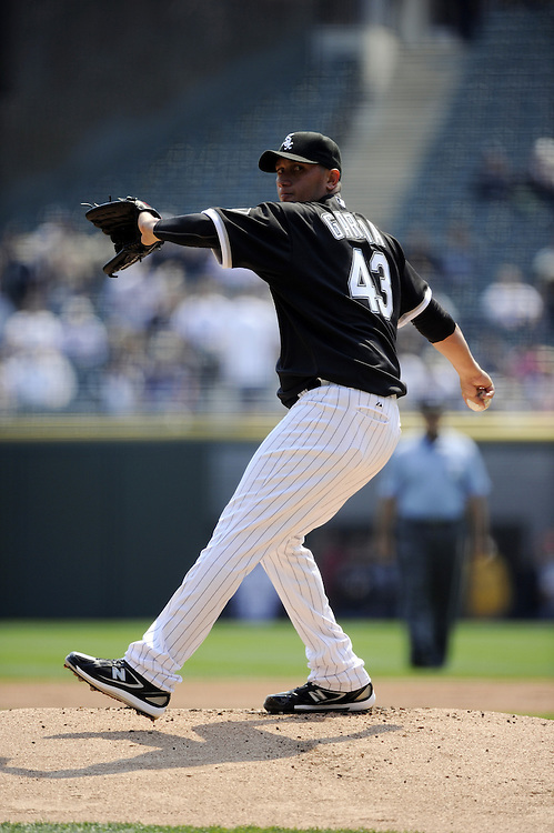 CHICAGO - APRIL 10:  Fredy Garcia #34 of the Chicago White Sox pitches against the Minnesota Twins on April 10, 2010 at U.S. Cellular Field in Chicago, Illinois.  The Twins defeated the White Sox 2-1.  (Photo by Ron Vesely)