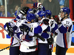 Team Slovakia celebrates victory at ice-hockey game Slovenia vs Slovakia at second game in  Relegation  Round (group G) of IIHF WC 2008 in Halifax, on May 10, 2008 in Metro Center, Halifax, Nova Scotia, Canada. Slovakia won after penalty shots 4:3.  (Photo by Vid Ponikvar / Sportal Images)