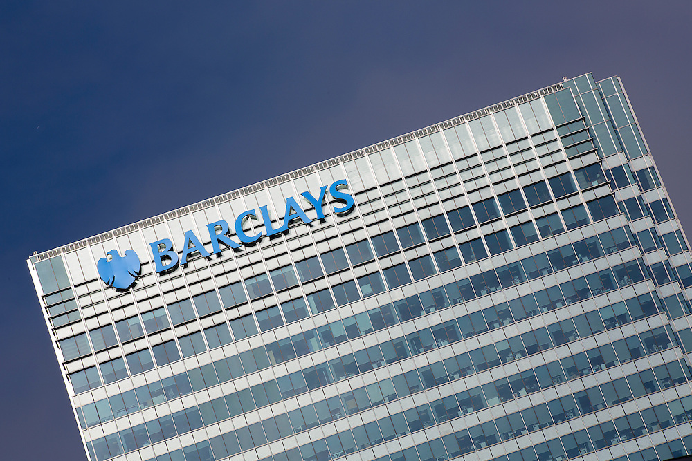 The headquarters of Barclays Bank at Canary Wharf in the financial heart of London pictured against a clear blue sky