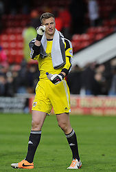 Bristol City's Simon Moore who saved a penalty from Walsall's Sam Mantom celebrates on the final whistle  - Photo mandatory by-line: Joe Meredith/JMP - Mobile: 07966 386802 12/04/2014 - SPORT - FOOTBALL - Walsall - Banks' Stadium - Walsall v Bristol City - Sky Bet League One