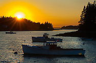 Lobster boats from the Port Clyde fisherman COOP docks at sunset, Port Clyde, Maine