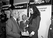 09/01/1981.01/09/1981.9th January 1981.The Aer Lingus Young Scientist of the Year Award at the RDS, Dublin ..John Wilson T.D., Minister for Education presenting the award to Catherine Conlan from Muckross Park College, Donnybrook, Dublin for her project 'A Study of Physical, Anatomical and Biochemical Aspects of the Spider and His Web Making Processes.' Also pictured (centre) is Michael Dargan, Chairman of Aer Lingus. .