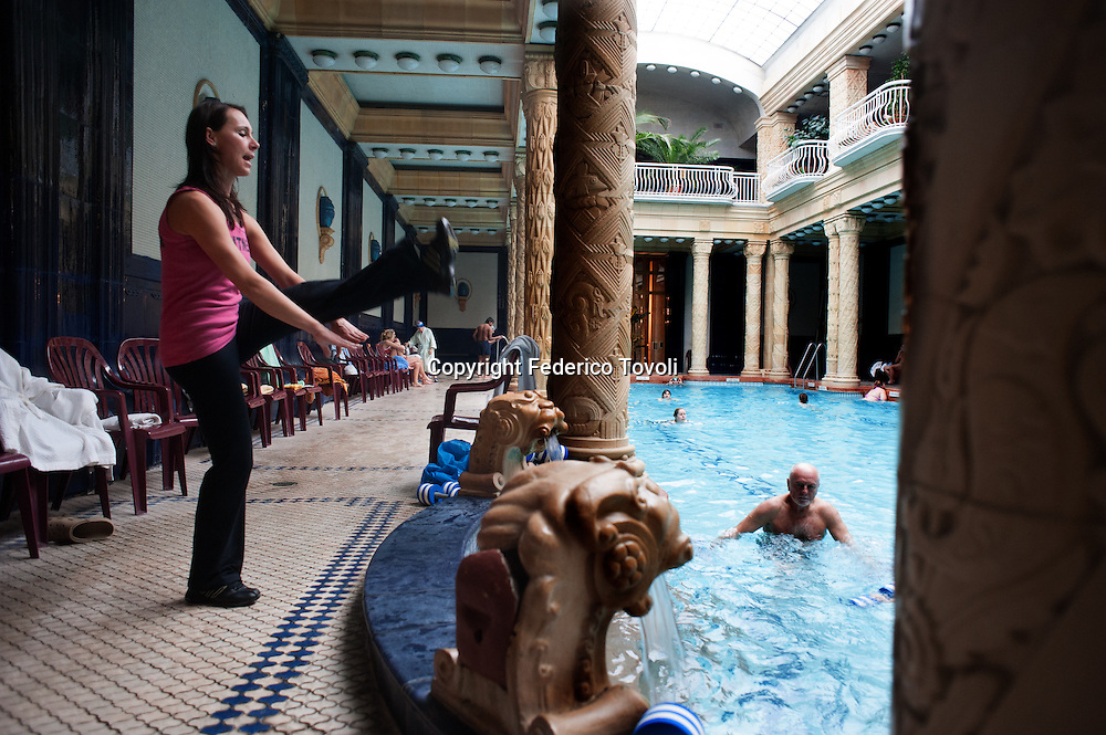 "Hungary, Budapest. In the pool ""art deco"" at the historic Hotel Gellert"