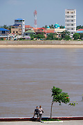 Phnom Penh, Cambodia. Tourists at Tonle Sap.