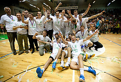 Players of Krka celebrate after the basketball match between KK Krka and Union Olimpija in 5th Round of Final of Slovenian National Championship, on June 11, 2011 in  Arena Leon Stukelj, Novo mesto, Slovenia. Krka defeated Union Olimpija 64-57 and became Slovenian National Champion 2011. (Photo By Vid Ponikvar / Sportida.com)