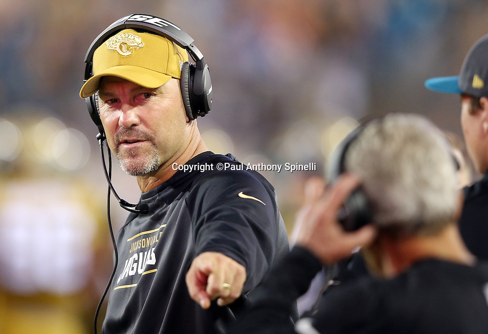Jacksonville Jaguars head coach Gus Bradley points on the sideline during the 2015 week 11 regular season NFL football game against the Tennessee Titans on Thursday, Nov. 19, 2015 in Jacksonville, Fla. The Jaguars won the game 19-13. (©Paul Anthony Spinelli)