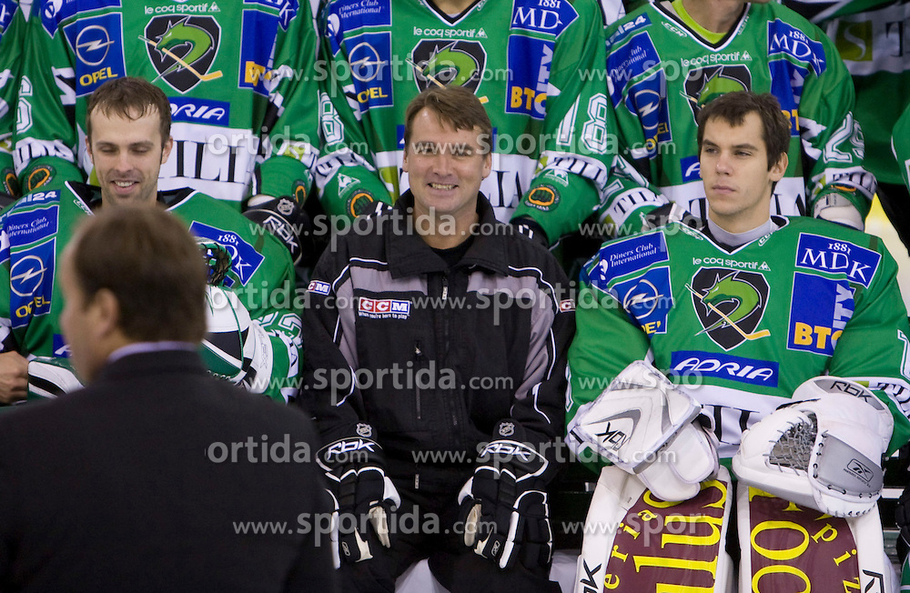 Goalkeeper Mike Morrison, coach Mike Posma and goalkeeper Ales Sila of HDD Tilia Olimpija before new season 2008/2009,  on September 17, 2008 in Arena Tivoli, Ljubljana, Slovenia. (Photo by Vid Ponikvar / Sportal Images)