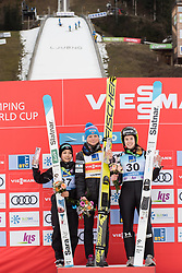 February 8, 2019 - Winners of first competition day of the FIS Ski Jumping World Cup Ladies Ljubno on on podium on February 8, 2019 in Ljubno, Slovenia. From left: Sara Takanashi of Japan, Maren Lundby of Norway and Ursa Bogataj of Slovenia. (Credit Image: © Rok Rakun/Pacific Press via ZUMA Wire)