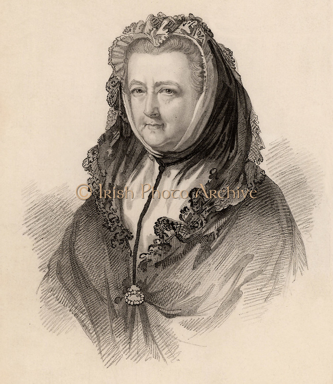 Mary Delany (born Granville 1700-1788) Englishwoman of artistic and literary tastes.  In 1743 she married Patrick Delany, an Irish churchman and friend of Dean Jonathan Swift. She created exquisite paper 'mosaics' (collages), many of which are now in the British Museum.   Engraving from 'Diary and Letters of Madame D'Arblay' by Fanny Burney (London, 1843).