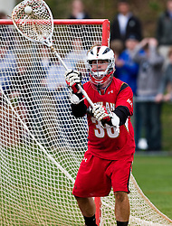 Maryland Terrapins Goalie Brian Phipps (30) in action against UVA.  The #9 ranked Maryland Terrapins fell to the #1 ranked Virginia Cavaliers 10 in 7 overtimes in Men's NCAA Lacrosse at Klockner Stadium on the Grounds of the University of Virginia in Charlottesville, VA on March 28, 2009.