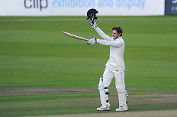 Chris Dent of Gloucestershire celebrates scoring 200 surpassing his previous record of 153 - Mandatory byline: Dougie Allward/JMP - 07966386802 - 24/09/2015 - Cricket - County Ground -Bristol,England - Gloucestershire CCC v Glamorgan CCC - LV=County Championship - Division Two - Day Three