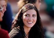 French Open 2010, Roland Garros, Paris, Frankreich,Sport, Tennis, ITF Grand Slam Tournament, .Freundin von Juergen Melzer freut sich, laechelt,......Foto: Juergen Hasenkopf..