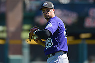 SCOTTSDALE, AZ - MARCH 09:  Nolan Arenado #28 of the Colorado Rockies warms up prior to the spring training game against the San Francisco Giants at Scottsdale Stadium on March 9, 2016 in Scottsdale, Arizona. The Colorado Rockies won 8-6.  (Photo by Jennifer Stewart/Getty Images) *** Local Caption *** Nolan Arenado