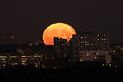 © Licensed to London News Pictures. 25/09/2018. LONDON, UK.  The moon rises over the capital the day after the Harvest Moon, the closest full moon to the autumnal equinox.  Photo credit: Stephen Chung/LNP