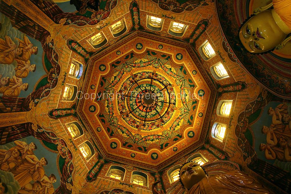 The Octagon and painted ceiling at Asokaramaya Temple.  Thimbirigasyaya, Colombo.