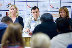 Deja Ivanovic Doler, Jaka Kravanja and Marta Bon at press conference of women handball club RK Krim Mercator,  on October 20, 2009, in M Hotel, Ljubljana, Slovenia.   (Photo by Vid Ponikvar / Sportida)