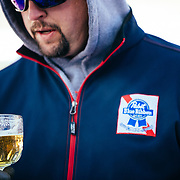 The PBR rep samples some of the beer that he is providing for the 2015 Gelande Quaff competition.