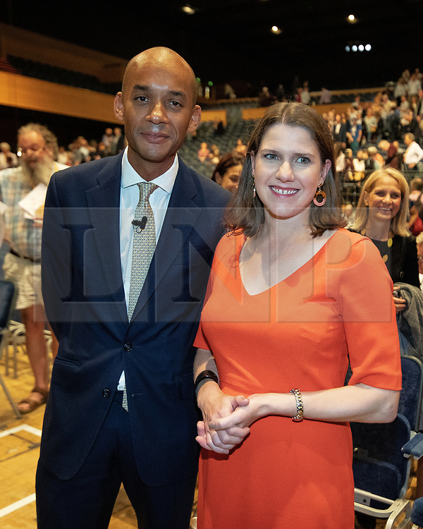 © Licensed to London News Pictures . 15/09/2019. Bournemouth, UK. CHUKA UMUNNA and JO SWINSON in the conference hall after UMUNNA delivers his conference speech . The Liberal Democrat Party Conference at the Bournemouth International Centre . Photo credit: Joel Goodman/LNP