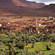 Moroccan village at desert oasis