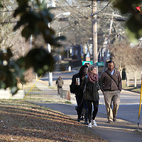 Volunteers make their way down North Madison on their way to the Lee County Library as they begin their annual homeless census.