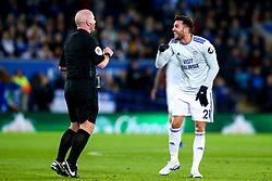 Victor Camarasa of Cardiff City argues with referee Simon Hooper - Mandatory by-line: Robbie Stephenson/JMP - 29/12/2018 - FOOTBALL - King Power Stadium - Leicester, England - Leicester City v Cardiff City - Premier League