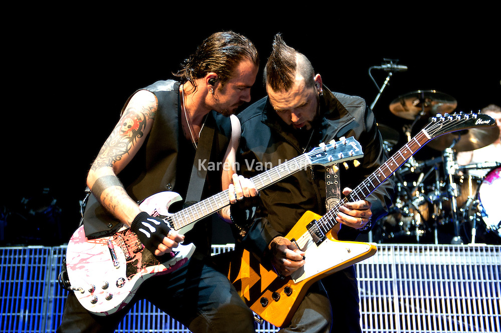 Three Days Grace performing at the First Midwest Bank Amphitheater on September 18, 2011 on the Uproar Tour.