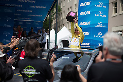 Megan Guarnier (USA) of Boels-Dolmans Cycling Team celebrates her overall win in her new car, after the fourth, 70 km road race stage of the Amgen Tour of California - a stage race in California, United States on May 22, 2016 in Sacramento, CA.