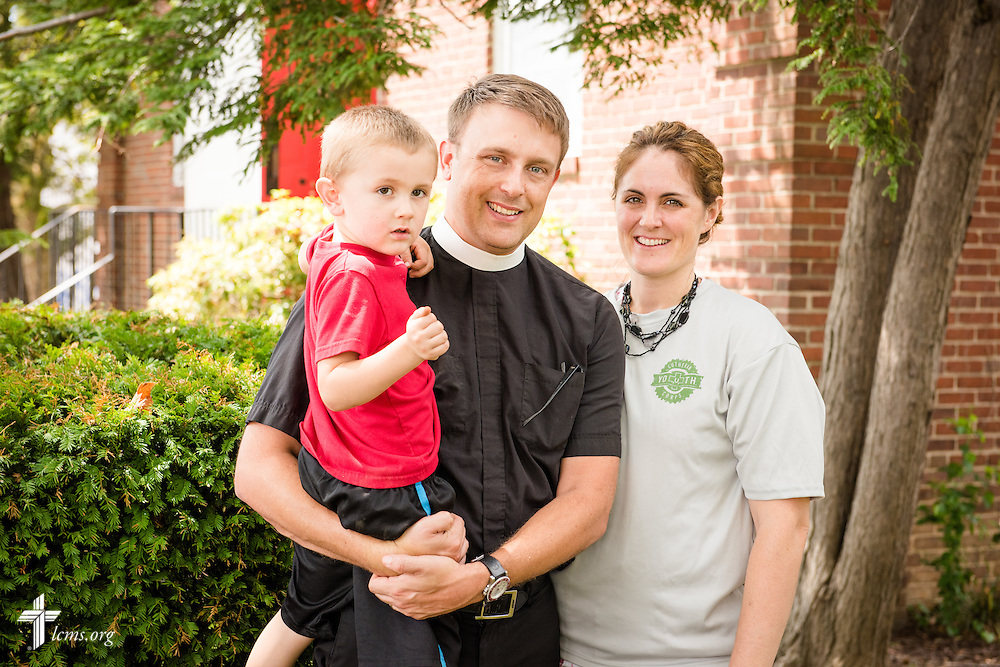 A portrait of the Rev. Adam DeGroot, Deaconess Melissa DeGroot, and their son Knox Benajmin, at Shepherd of the City Lutheran Church on Wednesday, August 13, 2014, in Philadelphia, Pa. LCMS Communications/Erik M. Lunsford