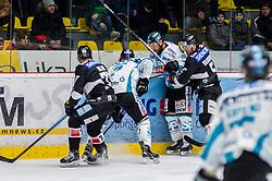 01.01.2019, Ice Rink, Znojmo, CZE, EBEL, HC Orli Znojmo vs EHC Liwest Black Wings Linz, 34. Runde, im Bild v.l. Nicolas Hlava (HC Orli Znojmo) Brian Lebler (EHC Liwest Black Wings Linz) Dragan Umicevic (EHC Liwest Black Wings Linz) Mikko Vainonen (HC Orli Znojmo) // during the Erste Bank Eishockey League 34th round match between HC Orli Znojmo and EHC Liwest Black Wings Linz at the Ice Rink in Znojmo, Czechia on 2019/01/01. EXPA Pictures © 2019, PhotoCredit: EXPA/ Rostislav Pfeffer