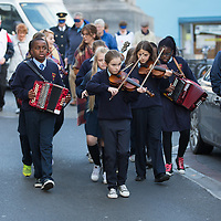 Members of the Cloughleigh School Band lead the 'Walk a mile' for the blind event in Ennis on Thursday morning