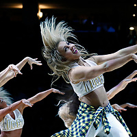 01 April 2018: Denver Nuggets Dancers perform during the Denver Nuggets 128-125 victory over the Milwaukee Bucks, at the Pepsi Center, Denver, Colorado, USA.