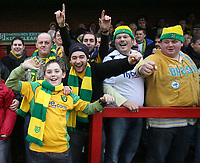 Photo: Rich Eaton.<br /> <br /> Tamworth FC v Norwich City. The FA Cup. 06/01/2007. Norwich fans celebrate victory