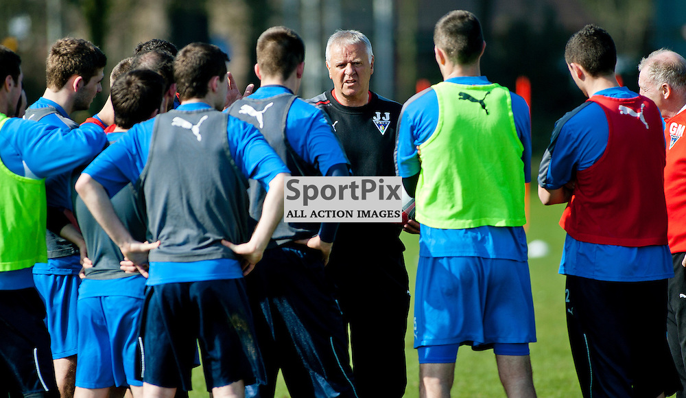 The Clydesdale Bank Scottish Premier League, Season 2011/12.Dunfermline Athletic Football Club - Training session..22-03-12...Jim Jefferies talks to the players in this mornings Dunfermline Athletic training session. ..At Pitreavie- Dunfermline Academy of sport, Dunfermline...Picture, Craig Brown ..Thursday 22nd March 2012.