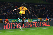 Adama Traore controls the ball during the Premier League match between Wolverhampton Wanderers and West Ham United at Molineux, Wolverhampton, England on 4 December 2019.