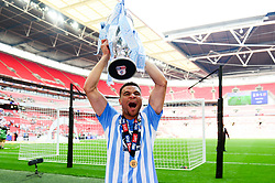 Free to use courtesy of Sky Bet. Maxime Biamou of Coventry City celebrates after winning the Sky Bet League Two play-off final against Exeter City  - Mandatory by-line: Dougie Allward/JMP - 28/05/2018 - FOOTBALL - Wembley Stadium - London, England - Coventry City v Exeter City - Sky Bet League Two Play-off Final