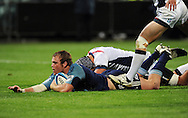 Blues flanker Luke Braid scores a try. Investec Super Rugby, Blues v Rebels at North Harbour Stadium, Auckland, New Zealand. Good Friday 22 April 2011. Photo: Andrew Cornaga / photosport.co.nz