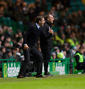 4th April 2018, Celtic Park, Glasgow, Scotland; Scottish Premier League football, Celtic versus Dundee; Dundee manager Neil McCann and Celtic manager Brendan Rodgers