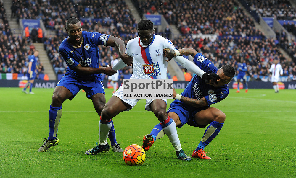Bakary Sako can't shake off the attentions of Wes Morgan and Danny Simpson(c) Simon Kimber | SportPix.org.uk