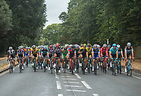 The peloton approaches Hampton Court in The Prudential RideLondon Classic. Sunday 29th July 2018<br /> <br /> Photo: Jon Buckle for Prudential RideLondon<br /> <br /> Prudential RideLondon is the world's greatest festival of cycling, involving 100,000+ cyclists - from Olympic champions to a free family fun ride - riding in events over closed roads in London and Surrey over the weekend of 28th and 29th July 2018<br /> <br /> See www.PrudentialRideLondon.co.uk for more.<br /> <br /> For further information: media@londonmarathonevents.co.uk