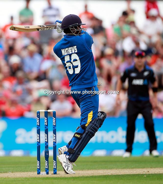 Angelo Mathews of Sri Lanka batting during the first ODI between the Black Caps v Sri Lanka at Hagley Oval, Christchurch. 11 January 2015 Photo: Joseph Johnson / www.photosport.co.nz