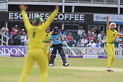 Natalie Sciver of England (39) is out lbw to Delissa Kimmince of Australia (26) during the Royal London Women's One Day International match between England Women Cricket and Australia at the Fischer County Ground, Grace Road, Leicester, United Kingdom on 4 July 2019.