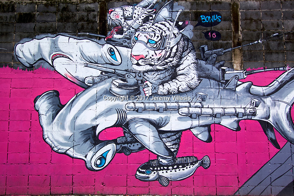 Tigers riding armor-wearing hammerhead sharks by Bonus TMC, Charoen Krung 32