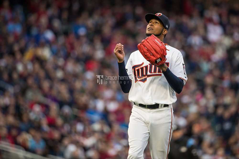 MINNEAPOLIS, MN- APRIL 3: Ervin Santana #54 of the Minnesota Twins looks on against the Kansas City Royals on April 3, 2017 at Target Field in Minneapolis, Minnesota. The Twins defeated the Royals 7-1. (Photo by Brace Hemmelgarn) *** Local Caption *** Ervin Santana