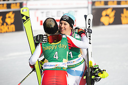 Wendy Holdener (SUI) and Katharina Truppe (AUT) celebrating at the Ladies' Slalom at 56th Golden Fox event at Audi FIS Ski World Cup 2019/20, on February 16, 2020 in Podkoren, Kranjska Gora, Slovenia. Photo by Matic Ritonja / Sportida
