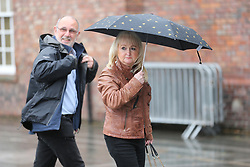 © Licensed to London News Pictures. 28/06/2017. Warrington, UK. Jenni Hicks & Jimmy McGoven arrive at Parr Hall. Families of the 96 people killed at the Hillsborough disaster in 1989 will today find out if criminal charges will be brought after Prosecutors examining files identified 23 criminal suspects. Families will be informed of the decisions by Sue Hemming, CPS Head of Special Crime & Counter-Terrorism at Parr Hall in Warrington. Photo credit: Andrew McCaren/LNP
